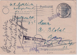 """All.Bes. - """"Durch Aufruf Nicht Ermittelt (22) Postamt Bonn"""" L2 Ganzsache 1948 - Unclassified"""