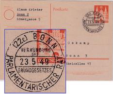 Bizone - Bonn Parlamentarischer Rat Grundgesetz SST 8 Pfg. Ganzsache 23.5.49 - Unclassified