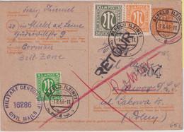 All.Bes./BZ - 6 Pfg. AM-Post Ganzsache+Zusatz N. POLEN Alfeld 1.8.46 Retour - Unclassified