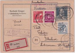 All.Bes. - 12 Pfg. Stephan Ganzsache+Zusatz Einschreibekarte Breitenberg 1947 - Unclassified
