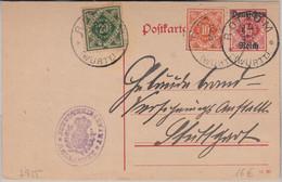 DR/Württemberg - 10 Pfg Dienst Ganzsache Mischfrankatur Rottum - Stuttgart 1921 - Covers & Documents