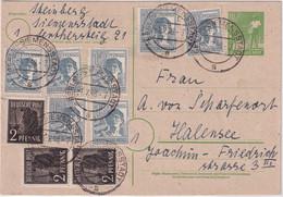 All.Bes./Währungsreform -10 Pfg. Arbeiter Ganzsache+Zusatz Berlin 1.7.48 - Unclassified