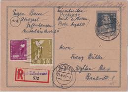 All.Bes. - 12 Pfg Stephan Ganzsache+Zusatz Eil-Einschreibekarte Stuttgart 1947 - Unclassified