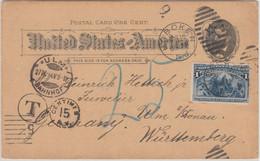 USA - 1 C. Ganzsache + 1 C. Columbus Zusatz Unterfrankierte Karte Hoboken 1894 - Unclassified