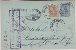 DR - 2 Pfg. Germania Ganzsache + Zusatz N. ÖSTERREICH Aulendorf 1902 - Covers & Documents