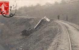 72 LA FERTE-BERNARD  - CARTE- PHOTO Déraillement Du Tramway De La Tebouge  Le 20/01/1910 - La Ferte Bernard