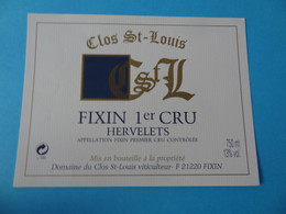 Etiquette Neuve Fixin 1er Cru Hervelets Clos St Louis - Bourgogne