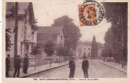 18. SAINT AMAND MONTROND. CPA SEPIA. AVENUE DE LA GARE. ANIMATION. ANNEE 1934 + TEXTE - Saint-Amand-Montrond