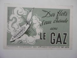 Buvard Illustré - Thème Electricité Et Gaz : Le Gaz Des Flot D'eau Chaude - Thermomètre Canoé Qui Flotte - Electricité & Gaz
