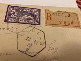 Lettre Ferroviaire Nice Timbre Merson 60c Seul1923 - Railway Post