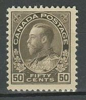 Canada 1912 50c Grey Black ☀ 50c ☀ MLH Stamp - Unused Stamps