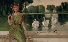Belle Illustrée Gaufrée E. TFemme Assise Au Bord De L'eau . Cygnes - Frauen