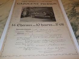 ANCIENNE  PUBLICITE MOTEUR A GAZ DE PIERSON 1903 - Otros