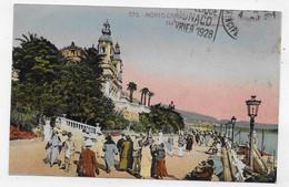(RECTO / VERSO) MONTE CARLO EN 1928 - N° 772 - THEATRE ET TERRASSES - CPA COULEUR VOYAGEE - Opera House & Theather
