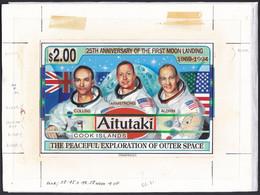 Aitutaki Sc506 First Manned Moon Landing, Space, Espace, Astronaute, Original Drawing Artwork Proof, Essay Epreuve Essai - Oceania