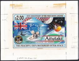 Aitutaki Sc507 First Manned Moon Landing, Space, Espace, Original Drawing Artwork Proof, Essay, Epreuve, Essai - Oceania