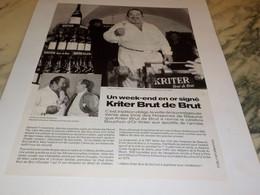 ANCIENNE PUBLICITE CARLOS ET BRUT DE BRUT  KRITER 1990 - Alcolici