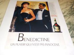 ANCIENNE   PUBLICITE CORPS ET AME BENEDICTINE 1990 - Alcolici