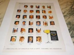 ANCIENNE PUBLICITE LES CHEFS  ET GRAND BLANC VIN D ALSACE 1995 - Alcolici