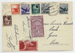 ITALIA PA 10LIRE +50C+ 5LIRE ESPRESSO + DIVERS +VENTI 20 LIRE CARTOLINA MILANO 1946 POUR SUISSE GENEVE - 1946-60: Oblitérés
