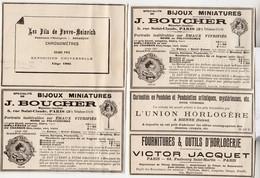 4 RARES PUBS SUR PAPIER - 1907 - BIJOUX MINIATURES - MONTRES - CHRONOMETRES - HORLOGES - PARIS - BIENNE SUISSE - Relojes Ancianos
