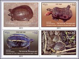 Nepal 2011 Schildkröten Turtles Ganges Soft-shell Turtle -Elongated Tortoise -Tricarinate Hill Turtle -...  MNH ** - Nepal
