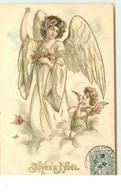 N°15377 - Carte Gaufrée - Joyeux Noël - Ange Près D'une Ange Gardien - Andere