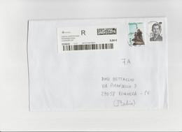 Spagna  2021 - Lettera Racc.   X L'Italia   Affrancata Con 2 Stamps - 2011-... Lettere