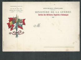 Carte Franchise Militaire Ministère De La Guerre, Service Des Militaires Rapatriés D'Allemagne - Tarjetas De Franquicia Militare