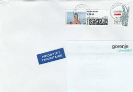 Poland - 2021 - Kikut Lighthouse On Paid Label / Travel Priority Letter - Phares