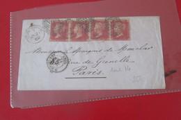 Grande Bretagne Lettre Du 21 01  1862    2  Paires Du  N°14  De Londres Pour Paris - Briefe U. Dokumente