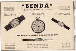 RARE PUB SUR PAPIER - 1907 - MONTRES BENDA - PARIS - Orologi Antichi