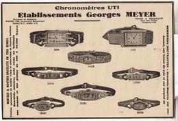 RARE PUB SUR PAPIER - 1907 - CHRONOMETRES UTI - GEORGES MEYER - MONTRES - BESANCON - PARIS - Orologi Antichi