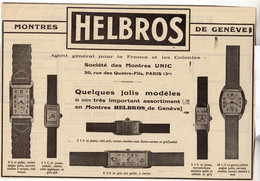 RARE PUB SUR PAPIER - 1907 - MONTRES DE GENEVE HELBROS - PARIS - Orologi Antichi