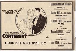 RARE PUB SUR PAPIER - 1930 - MONTRES CORTEBERT - GRAND PRIX DE BARCELONNE 1929 - Watches: Old