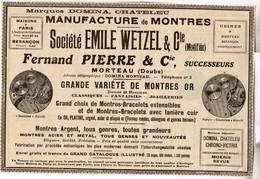 RARE PUB SUR PAPIER - 1930 - EMILE WETZEL - MANUFACTURE DE MONTRES - MORTEAU - Orologi Antichi