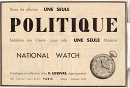 RARE PUB SUR PAPIER - 1930 - NATIONAL WATCH - PARIS - Orologi Antichi