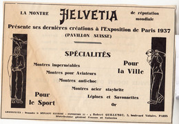 RARE PUB SUR PAPIER - 1930 - MONTRE HELVÉTIA - PARIS - Orologi Antichi