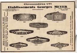 RARE PUB SUR PAPIER - 1930 - ETABLISSEMENTS GEORGES MEYER - CHRONOMETRES UTI - PARIS - BESANCON - Orologi Antichi