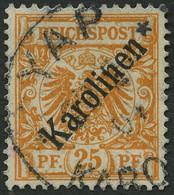 KAROLINEN 5I O, 1899, 25 Pf. Diagonaler Aufdruck, Stempel YAP, Kleine Vorderseitige Schürfung Sonst Pracht, Fotoattest S - Kolonie: Karolinen
