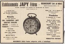 RARE PUB SUR PAPIER - 1930 - ETABLISSEMENTS JAPY FRERES - BEAUCOURT - REVEILS - PENDULES - Orologi Antichi
