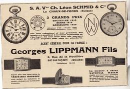 RARE PUB SUR PAPIER - 1930 - S.A.Vve CH. LEON SCHMID - LA CHAUX DE FONDS - SUISSE - GEORGES LIPPMANN - BESANCON - Orologi Antichi