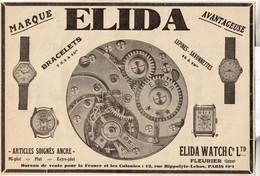 RARE PUB SUR PAPIER - 1930 - MONTRES ELIDA - BRACELETS - PARIS - Orologi Antichi