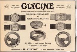 RARE PUB SUR PAPIER - 1930 - MONTRES GLYCINE - PARIS - Orologi Antichi