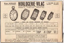 RARE PUB SUR PAPIER - 1930 - HORLOGERIE VILAC - VILLERS-LE-LAC - ROGER GUILLET - Orologi Antichi