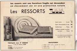 RARE PUB SUR PAPIER - 1930 - LES RESSORTS TUBBS - LYON - Orologi Antichi