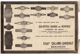 RARE PUB SUR PAPIER - 1930 - CALAME GINDRAT - BESANCON - CYLINDRE OU ANCRE - Orologi Antichi