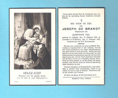 DOODSPRENTJE -  JOSEPH DE BRANDT WW JOSEPHINE TAS (° LEBBEKE 1874 +  ST. NIKLAAS 1942)  (DV 1134) - Avvisi Di Necrologio