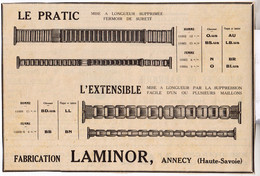 RARE PUB SUR PAPIER - 1930 - BRACELET MONTRE - LE PRATIC - L'EXTENSIBLE - FABRICANT LAMINOR - ANNECY - Orologi Antichi