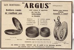 RARE PUB SUR PAPIER - 1930 - LES BOITIERS ARGUS - MONTRES - HORLOGERS DE FRANCE - Orologi Antichi